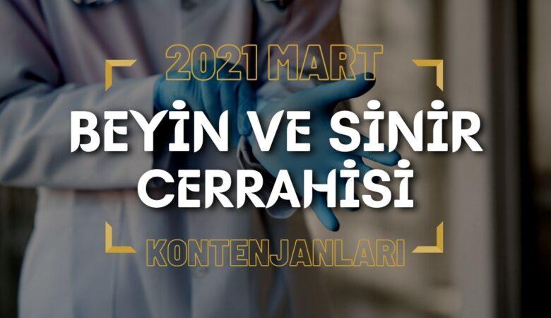 2021 Mart TUS'u Beyin ve Sinir Cerrahisi Kontenjanları