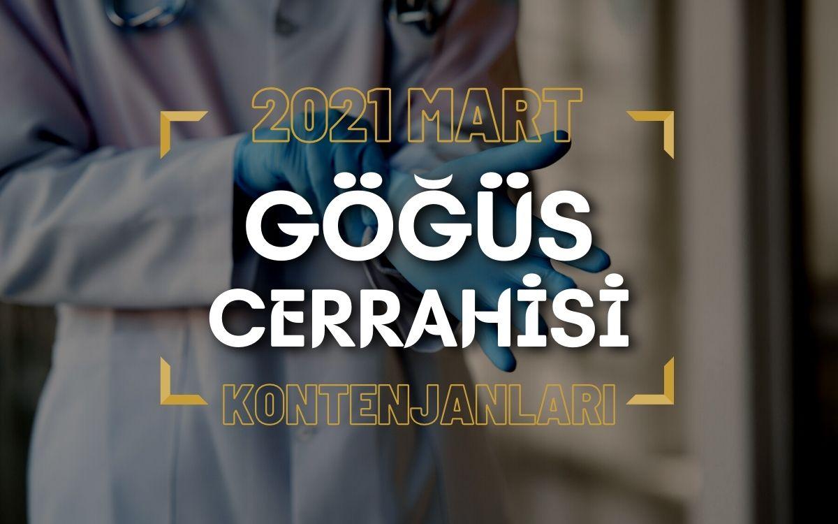 2021 Mart TUS'u Göğüs Cerrahisi Kontenjanları