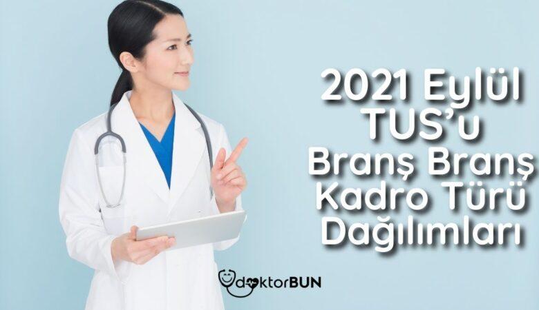 2021 Eylül TUS'u Branş Branş Kadro Türü Dağılımları